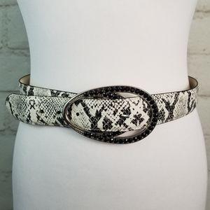 S Black & Ivory Snakeskin Print Belt Bling Buckle